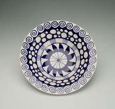Rim Pasta Bowl Blue and White Hand Painted by owlcreekceramics, $30.00