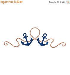70%OFF NAUTICAL Pair of Anchors Ropes Sailing by zebrakingstitches