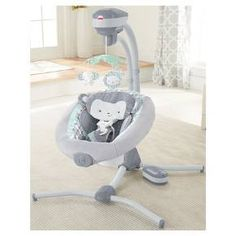 Your baby will go bananas for the Fisher-Price Sweet Surroundings Monkey Cradle 'n Swing! With two swinging motions (side-to-side and head-to-toe) and a variety of other customizable features, including relaxing vibrations, you can choose and combine what your little one likes best. The adorable and ultra-plush monkey seat pad is super cozy (and machine washable!), and the overhead mobile has three jungle friends and a mirror for your snuggle bug to admire. Plus, the plug-in option saves ...