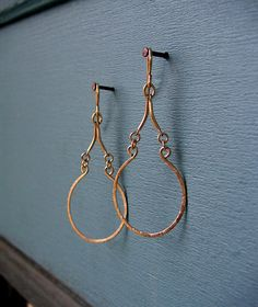 Arabesque Teardrop Hoop Earring - Gold Wire Jewelry - Wire Earring - Thin Dangle - Minimal Jewelry on Etsy, $35.00