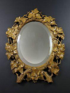 Antique 19th Century Victorian Black Forest Hand Carved Grape Vine Mirror