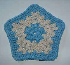 Blue Star Crocheted Facecloth