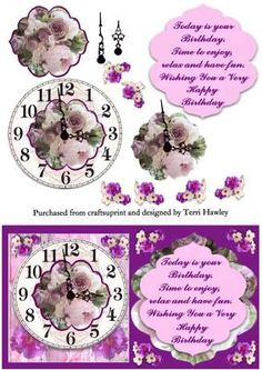 birthday time on Craftsuprint designed by Terri Hawley - This is a very pretty 3D card front, that has a short verse on the front, and a clock face and lots of pretty flowers on.  - Now available for download!
