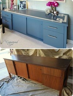"""DIY - Credenza Redo - Full Step-by-Step Tutorial with """"How to paint Laminate"""" using Zinsser Primer Cover"""