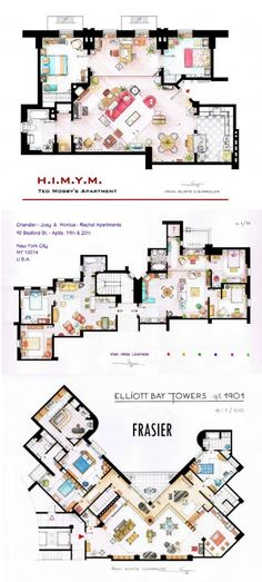 Famous television show home floor plans residence of for Famous building blueprints