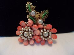 Miriam Haskell Coral Flower Brooch Faux Baroque Pearl & Green Glass Bead Vintage Pin Rare