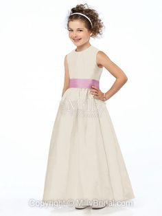 Scoop A-line Floor Length Embellished Trim White Taffeta Flower Girl Dress at Millybridal.com