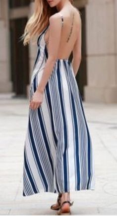 Sexy Blue and White Stripe Maxi Dress! Sexy Strappy Striped Open Back Maxi Dress For Women #Sexy #Blue #White #Stioe #Beach #Maxi #Dress