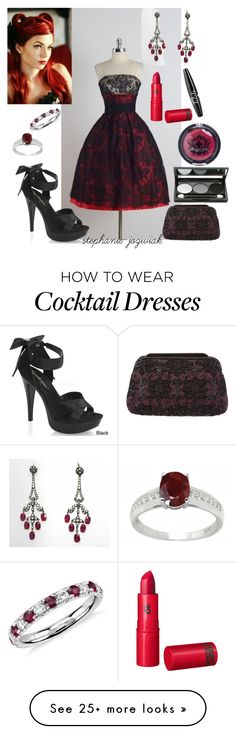 """""""Evie's Dress for Jen's Rockabilly Ice Cream Birthday Party"""" by stephanie-jozwiak on Polyvore featuring Pleaser, Judith Leiber, Blue Nile, De Buman, Lipstick Queen and NYX"""