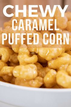 Make these soft and chewy caramel puffed corn treats! You can eat them fresh or bake them to give them a crispy texture. We love them chewy and soft! Caramel Puffed Corn Recipe, Puffed Corn Recipes, Caramel Puff Corn, Caramel Corn Recipes, Caramel Treats, Popcorn Recipes, Snack Recipes, Fudge Recipes, Oven Recipes