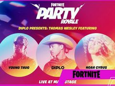 Fortnite live concert by Diplo Young Though and Noah Cyrus: here is the replica! Game Expo, Noah Cyrus, Game Title, Japanese Games, Young Thug, Cyberpunk 2077, Sports Games, New Trailers, Epic Games
