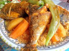 Tunesischer Couscous mit Fischrezept (scharfe Sauce) - New Ideas Tunisia Recipe, Algerian Recipes, Algerian Food, Fish Recipes, Healthy Recipes, Tunisian Food, Couscous Recipes, Ottolenghi, Pizza