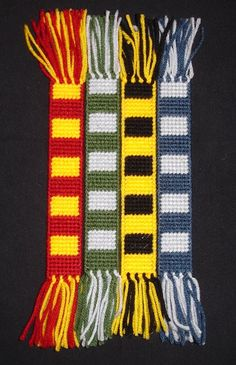 Harry Potter, Hogwarts House Scarf Bookmarks made from Plastic Canvas by Robert