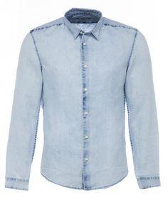 Drykorn RUBEN Leinenhemd in Jeans-Optik in Blau