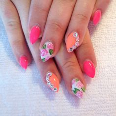 Short pointy pink nails hand painted roses