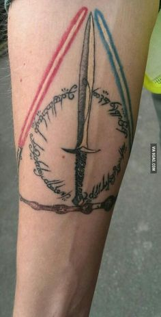 Awesome tattoo combining star wars, lord of the rings and harry potter
