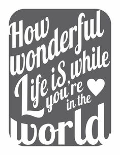 how wonderful life is
