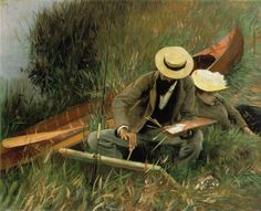 John Singer Sargent painting of Paul Helleu Sketching with his Wife1889 Oil on canvas 26 1/8 x 32 1/8 in (66.3 x 81.5 cm) Brooklyn Museum of Art