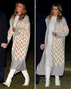 Melania Trump, First Lady. First Lady Melania Trump, Since the Windsor chair can be easily fo Milania Trump Style, Donald Trump Images, Jessica Parker, First Lady Melania Trump, White Boots, Latest Outfits, Olivia Palermo, 90s Fashion, Chic Outfits