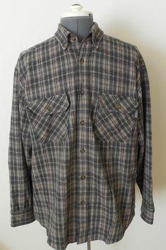 Woolrich Plaid Wool Shirt Sz Large Brown & Olive Green #Woolrich #ButtonFront