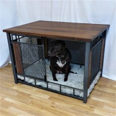 dog kennel for sale ; chenil à vendre Industrial Chic, Luxury Dog Kennels, Modern Industrial Furniture, Dog Crate Furniture, Expanded Metal, Vintage Design, Pet Beds, Interiores Design, Doge