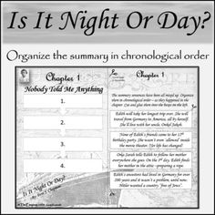 Chapter Summary, Cut And Paste, Historical Fiction, Teacher Pay Teachers, Quizzes, Classroom, Student, Writing, Night