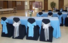 Blue and Black Chair-Covered Event