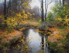 Russian Landscape, Landscape Art, Landscape Paintings, Autumn Painting, Painting Gallery, Art Plastique, Beautiful Landscapes, Painting Inspiration, Painting & Drawing