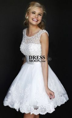 2015 Cute Beaded Scoop Neckline White Lace Short Prom Dress for teens, ball gown, grad dress, winter formal, wedding dress #wedding #promdress