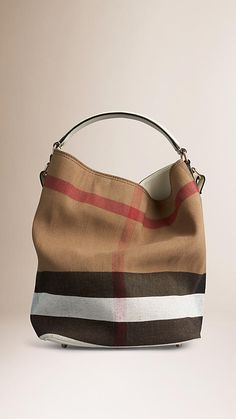 e0b1558b5dcc White The Medium Ashby in Canvas Check and Leather - Image 1 My Bags