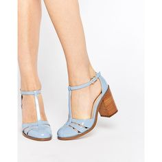 ASOS OPENING SHOW Heels ($60) ❤ liked on Polyvore featuring shoes, sandals, cornflower blue, t strap sandals, cut-out shoes, high heel sandals, t strap shoes y cut out sandals