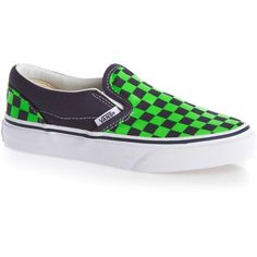 Vans Classic Slip-On Shoes (Checkerboard) Dress Blues/Green Flash ❤ liked on Polyvore featuring blue color shoes, blue shoes, vans shoes, checkerboard shoes and pull on shoes
