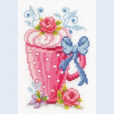 Mug with Flowers - counted cross-stitch kit Vervaco