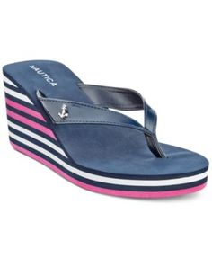 3e5a74496579 Nautica Landfall Platform Wedge Flip-Flop Thong Sandals Shoes - Sandals    Flip Flops - Macy s