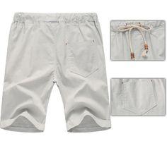 2017 Linen Shorts High Quality Beaded Drawstring Men's Casual Beach - Light Grey - Shorts