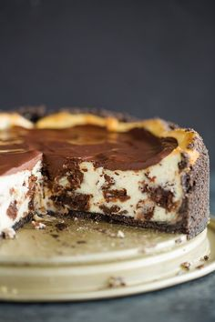 Brownie Mosaic Cheesecake after being cut into.