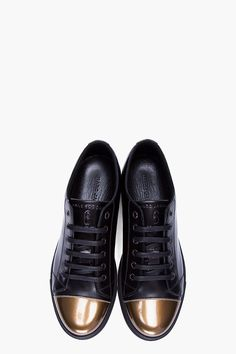 MARC JACOBS Patent Gold Cap Toe Leather Sneakers