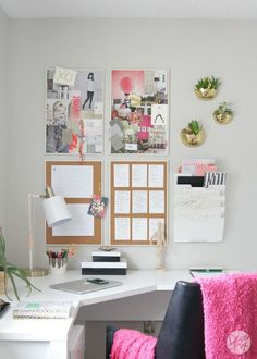 comfy corner girl nook with pinboards and pink and gold touches