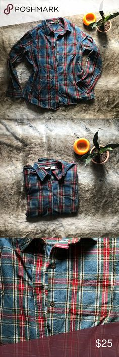 Llbean Flannel Blue plaid flannel from llbean. Worn once, like new!  100% cotton Size medium L.L. Bean Tops