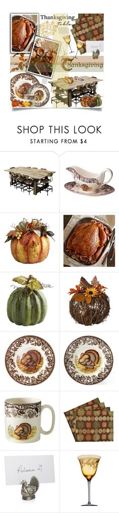 """""""Thanksgiving Table"""" by bellacharlie ❤ liked on Polyvore featuring interior, interiors, interior design, home, home decor, interior decorating, Kith & Kin, Spode, Harvest and Sherry Kline"""