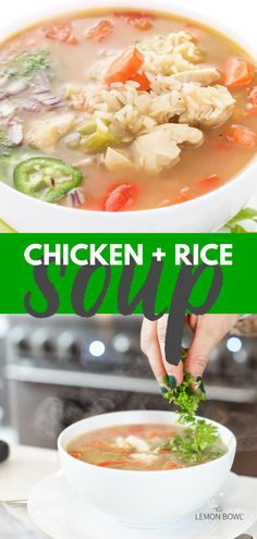 This satisfying, comforting chicken soup recipe is made with tender breast meat, hearty vegetables and aromatic chicken stock. Slow Cooker Chicken Curry, Slow Cooker Soup, Slow Cooker Recipes, Chicken Soup Recipes, Healthy Soup Recipes, Lebanese Lentil Soup, Healthy Slow Cooker, Rice Soup, Dinner Dishes