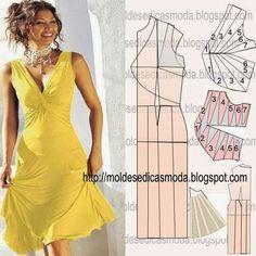 TRANSFORMAÇÃO DO MOLDE DE VESTIDO Desenhe o molde base de vestido, frente e costas. Desenhe uma linha na lateral para a rotação da pinça/pence e prolongand