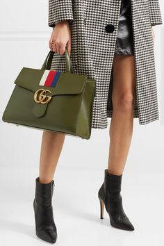GUCCI GG Marmont fashionable striped canvas-trimmed green leather tote