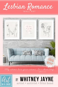 "Femme lesbian art tryptic (set of 3). Beautiful, romantic, simplistic art that celebrates love between 2 women, featuring a quote from one of my favorite poets (Atticus) ""My Atoms love your atoms. It's chemistry."" Feminist art, lesbian art prints, unique lesbian art, lesbian pride, lesbian wall art, lesbian erotic art, lesbian nude art. lesbian line art, lesbian nude art prints, women erotic art, lesbian romance art, lesbian wedding gift  #lesbianlove #lesbianromance #lesbianpoetry…"