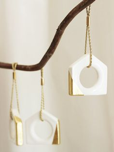 White and Gold Ceramic Christmas Tree Ornament by loop design studio