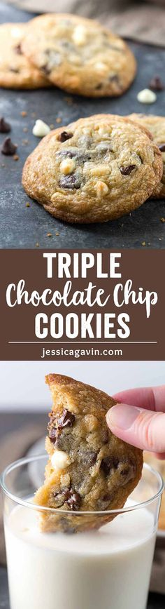 Soft Triple Chocolate Chip Cookies - Bakery style jumbo cookies made with white, semi-sweet and bittersweet chocolate for a chewy trifecta of flavor! via @foodiegavin