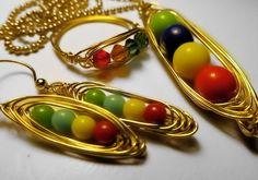 Zelda Earrings, Zelda Necklace, Zelda Ring, Magic Bean Set Gold Wire