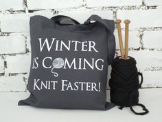Winter is coming Canvas Knitting Bag Grey by KellyConnorDesigns