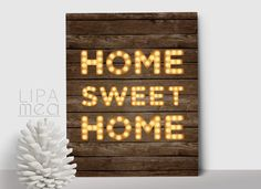 Rustic Home Sweet Home Printable Poster, Rustic Wall Art Print, Rustic Home Decor, Printable Home Sweet Home Print, Home Quote Art - pinned by pin4etsy.com