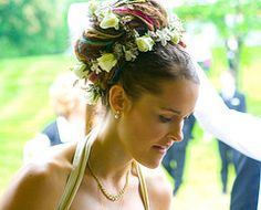 dreadlocks wedding updo flower crown